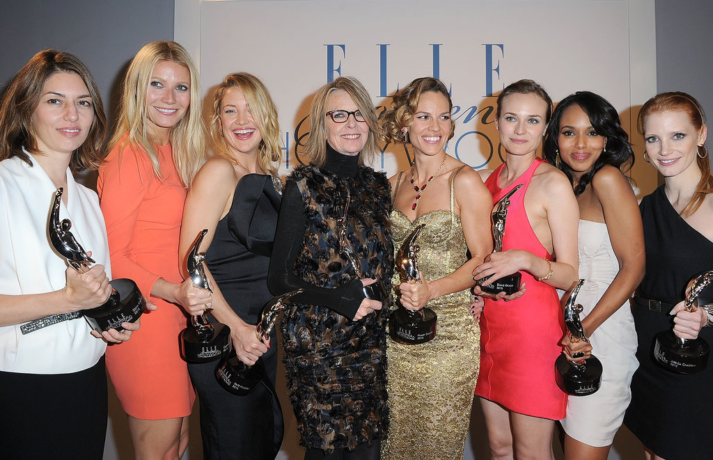 Gwyneth Paltrow was surrounded by famous friends at Elle's Women in Hollywood Tribute back in October 2010 — she accepted an award along with stars Sofia Coppola, Kate Hudson, Diane Keaton, Hilary Swank, Diane Kruger, Kerry Washington, and Jessica Chastain.