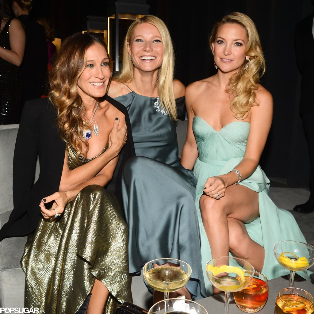 Gwyneth Paltrow was all smiles as she hung out with Sarah Jessica Parker and Kate Hudson at a Tiffany & Co. event at Rockefeller Center in April 2013.