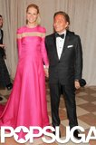 Gwyneth Paltrow walked hand in hand with designer Valentino Garavani at the May 2013 Met Gala in NYC.