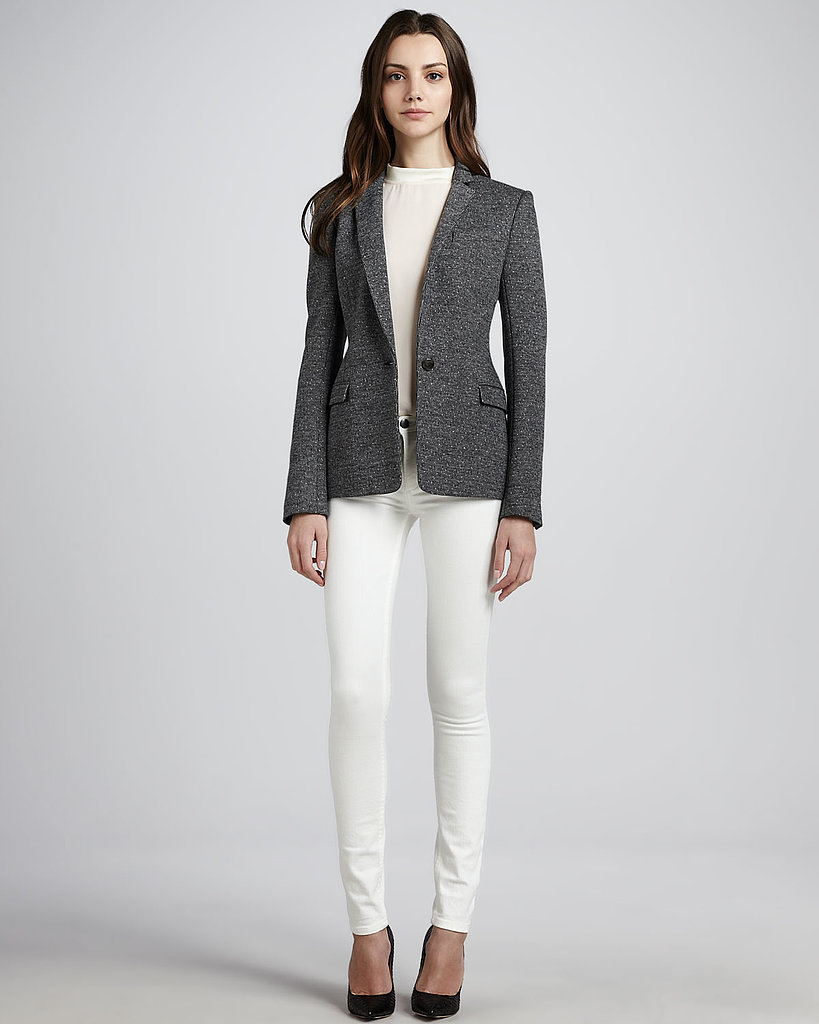No Fall wardrobe would be complete without at tweed jacket. I especially love the sleek tailoring on the Dancey blazer ($425) from Theory, which makes for an incredibly modern take on a classic piece.  — RK