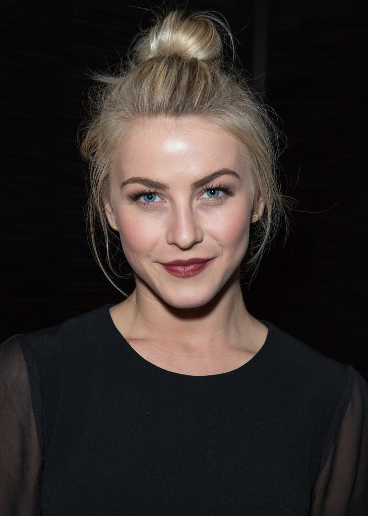 Julianne Hough makes a simple topknot feel so chic. And she's mastered the bold brow with bold lipstick look, too.