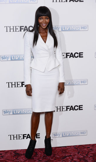 Naomi Campbell's white skirt suit was undeniably fresh at The Face screening in London. But what we love most is that the supermodel completed her look with booties versus sandals or pumps for an unexpected twist.
