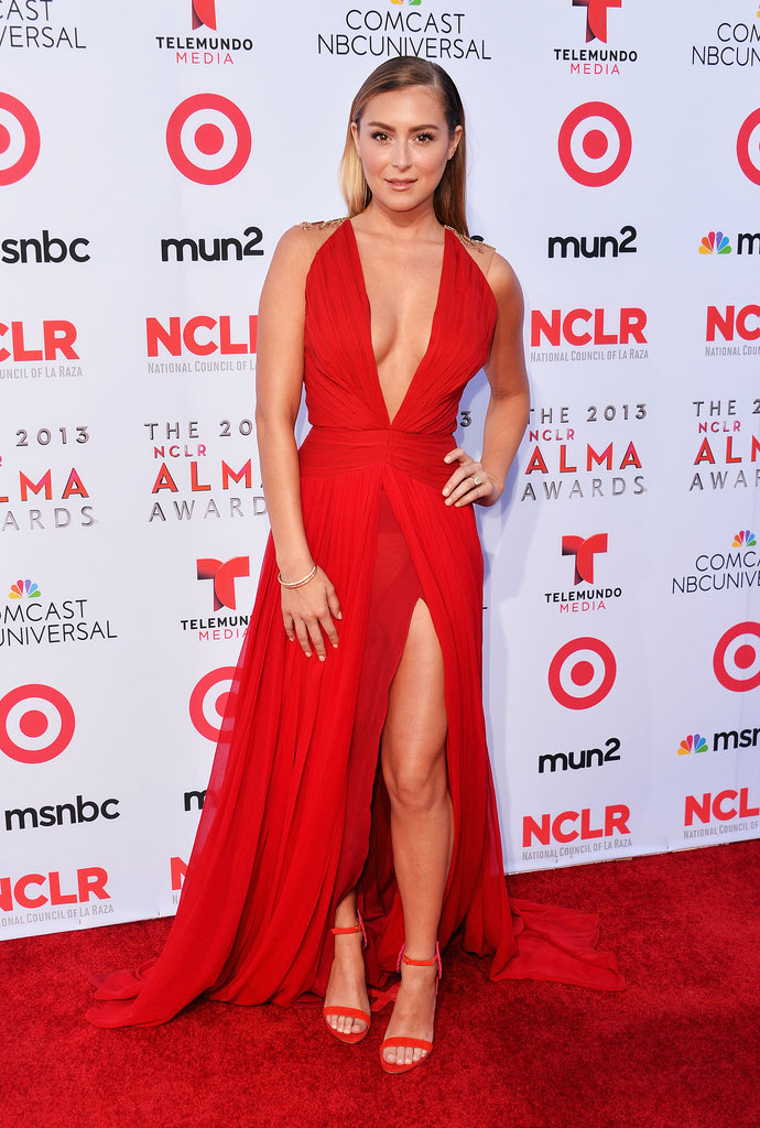 Alexa Vega heated up the red carpet in a red dress.