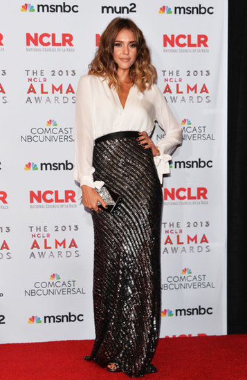 Jessica Alba hit the red carpet before presenting at the ALMA Awards in LA.