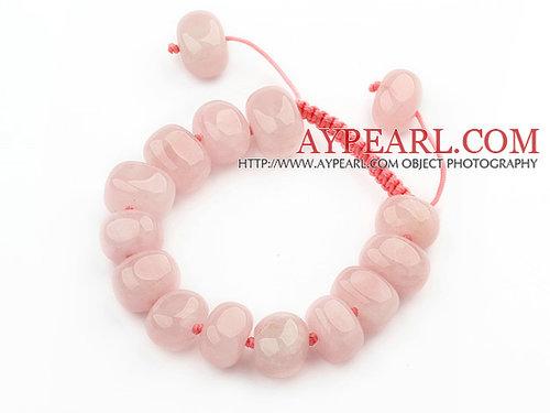 Assorted Fillet Irregular Shape Rose Quartz Knotted Adjustable Drawstring Bracelet