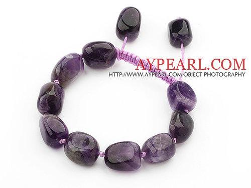 Assorted Fillet Irregular Shape Amethyst Knotted Adjustable Drawstring Bracelet