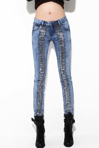 Sequin Color Block Skinny Jeans