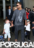 Ricky Martin touched down in Sydney with his sons, Valentino and Matteo.