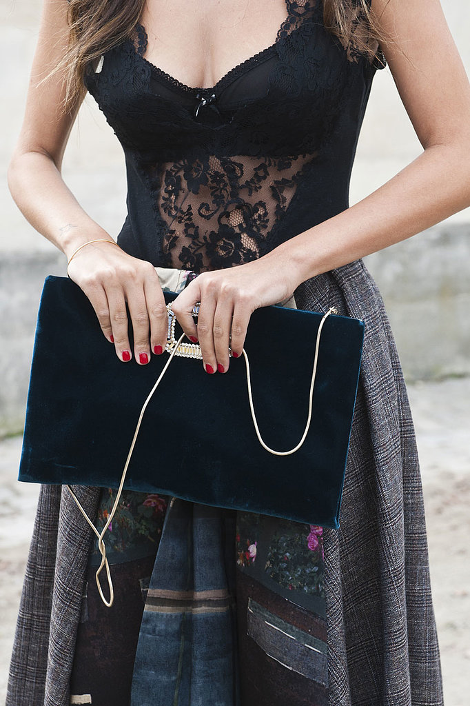 A gorgeous bag is so clutch at Paris Fashion Week.