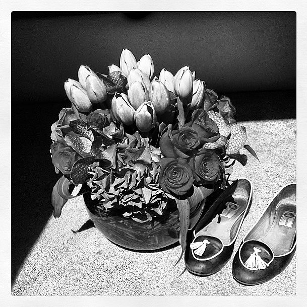 "Emmy Rossum had one fancy ""trailer floor,"" with flowers and vintage Lanvin. Source: Instagram user emmyrossum"