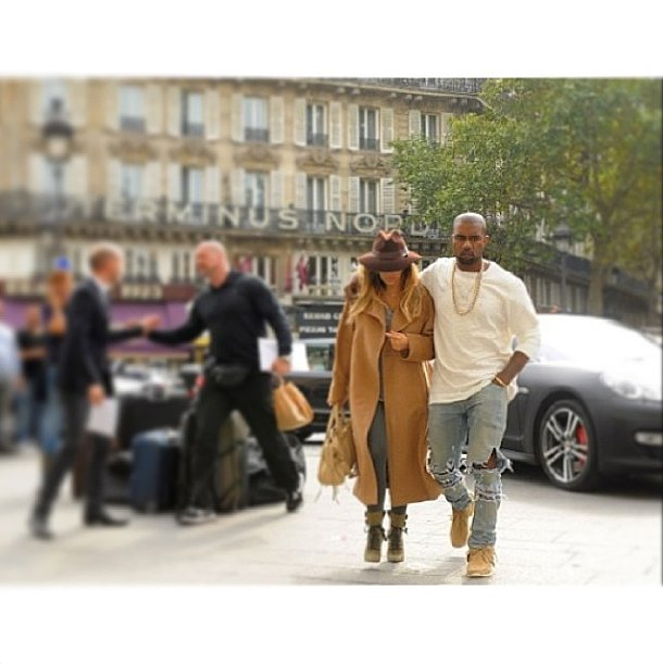 "Kim Kardashian and Kanye West said ""bonjour, France"" when they hit the street for Paris Fashion Week. Source: Instagram user kimkardashian"