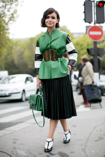 Miroslava Duma worked a smart color story — and sweet Valentino heels.