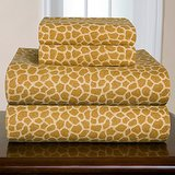 Pointehaven Giraffe Flannel Sheet Set