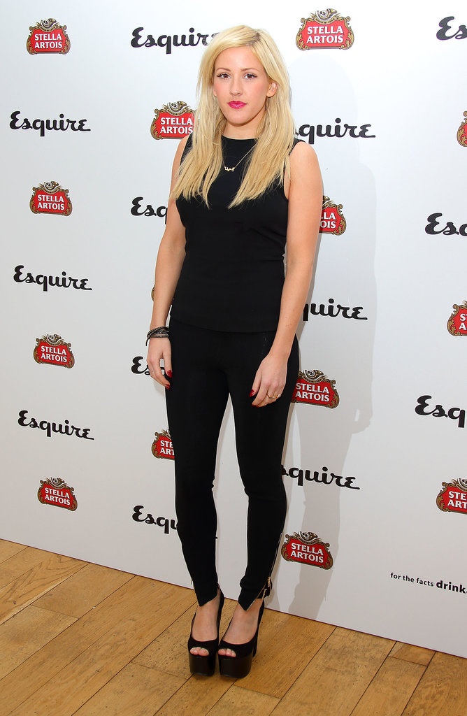 Ellie Goulding continued her love affair with Topshop shoes in black peep-toe Sonance platforms at the Esquire Summer party in London.