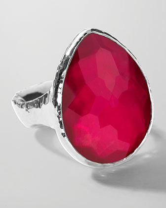Ippolita Sterling Silver Wonderland Teardrop Ring in Raspberry