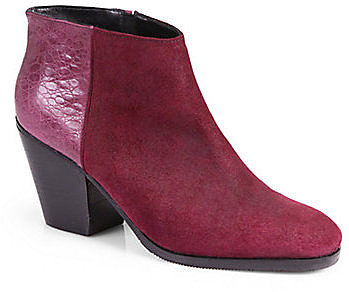Rachel Comey Mars Suede & Crocodile-Embossed Leather Ankle Boots