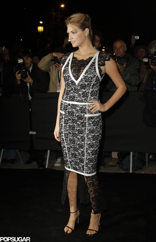 Kate Upton switched up her style in a black and white lace creation that played with proportions at the Mademoiselle C premiere.