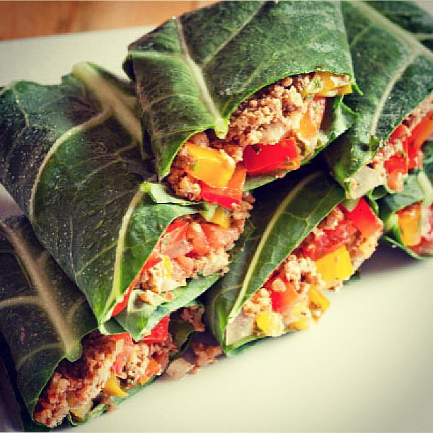 "Kimberly Snyder's tip of the day: ""Grind up walnuts, sunflower seeds, or mushrooms in your blender to mimic the taste of ground meat. Toss in some of your favourite spices and wrap in a collard or nori wrap."" Source: Instagram user kimberlysnyder1"