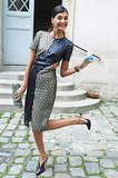 Giovanna Battaglia kicked up her heels while making the rounds at Paris Fashion Week.