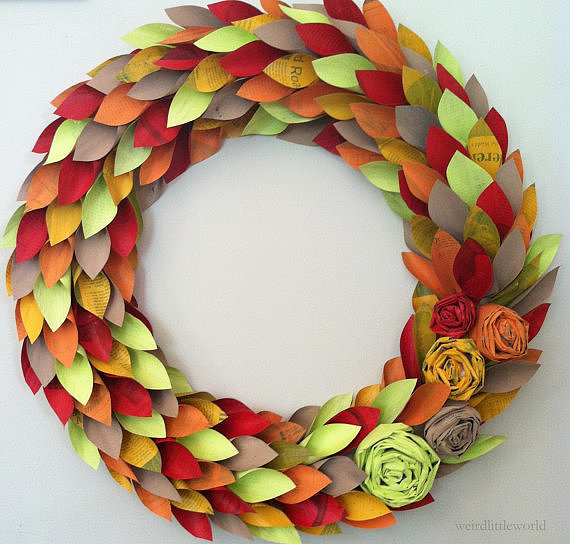 With hand-painted leaves made from newspaper, this Paper Wreath ($65) combines a traditional shape with a modern color scheme.