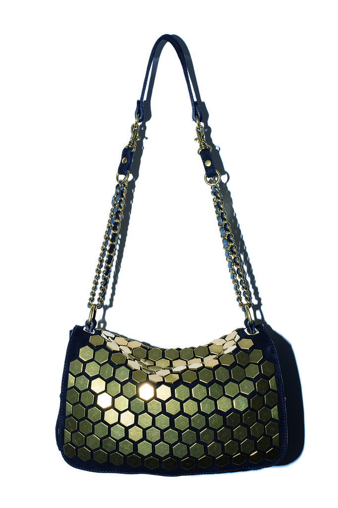 The Bobbi Bag in black goatskin with gold rivets Photo courtesy of Jerome Dreyfuss