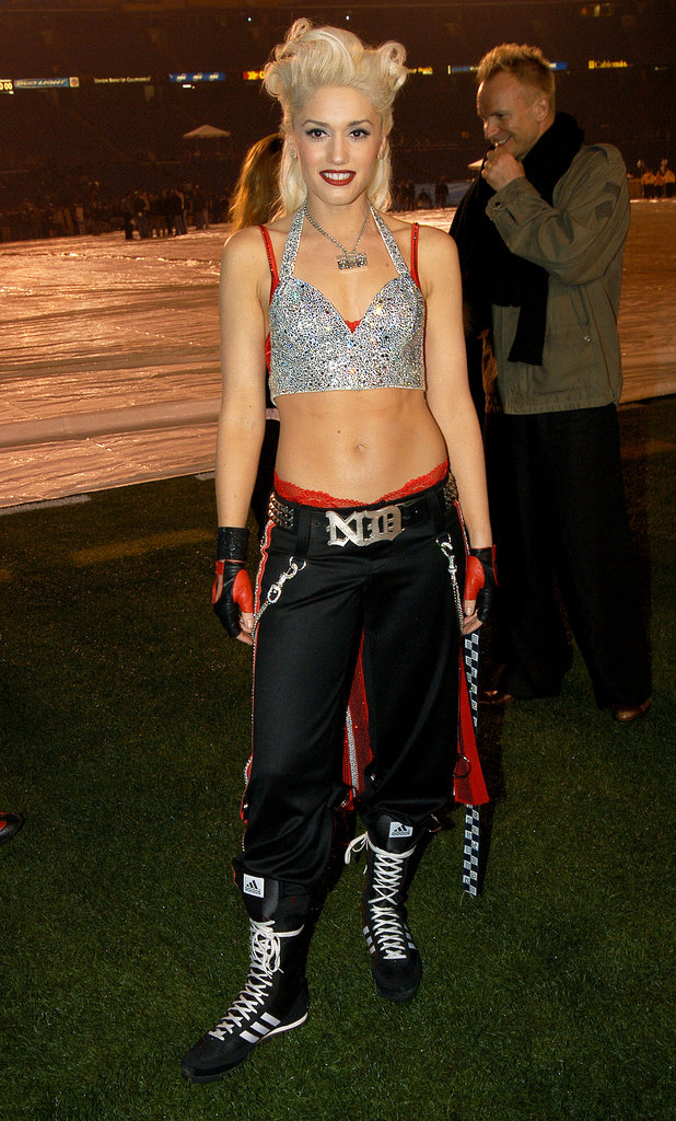 For the Super Bowl XXXVII halftime rehearsal, Gwen stepped out in a sequined cropped halter, sporty pants, and lace-up Adidas kicks.