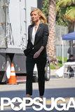 Gwyneth Paltrow wore a black pantsuit.