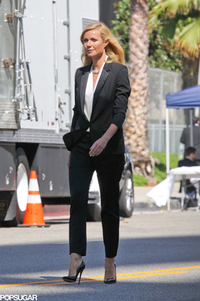 Gwyneth Paltrow wore a black pantsuit.