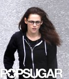 Kristen Stewart kept it casual in glasses and a hoodie.