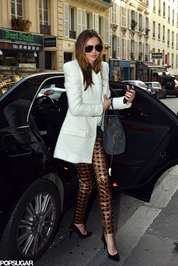 Miranda Kerr arrived at the Balmain store.