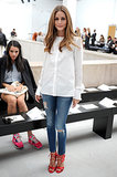 Olivia showed at Veronique Leroy that something as simple as a white shirt and jeans can be front-row ready — all you need are a pair of killer shoes.