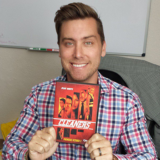 Lance Bass shared his excitement over friend Emmanuelle Chriqui's film Cleaners. Source: Instagram user lancebass