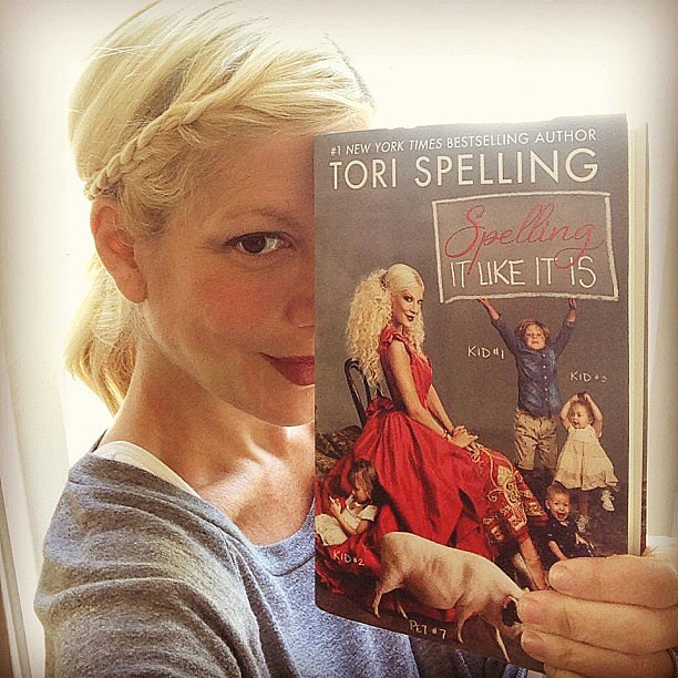 Tori Spelling showed off her new book, Spelling It Like It Is. Source: Instagram user torianddean
