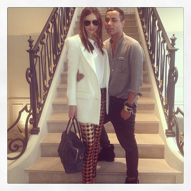 Miranda Kerr posed with Balmain designer Olivier Rousteing at his store in Paris. Source: Instagram user mirandakerr