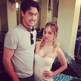 Kaley Cuoco's new fiancé, Ryan Sweeting, showed up to visit her on the set of The Wedding Ringer. Source: Instagram user normancook