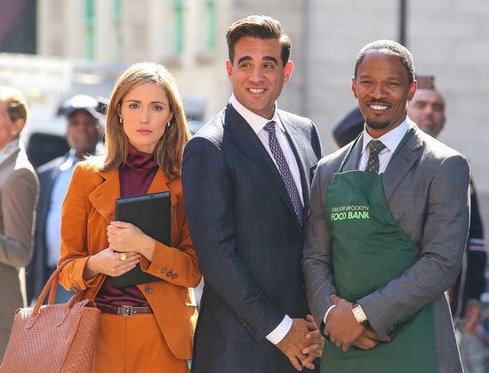 Jamie Foxx, Rose Byrne, and Bobby Cannavale got together to film the remake of Annie on Tuesday in NYC.