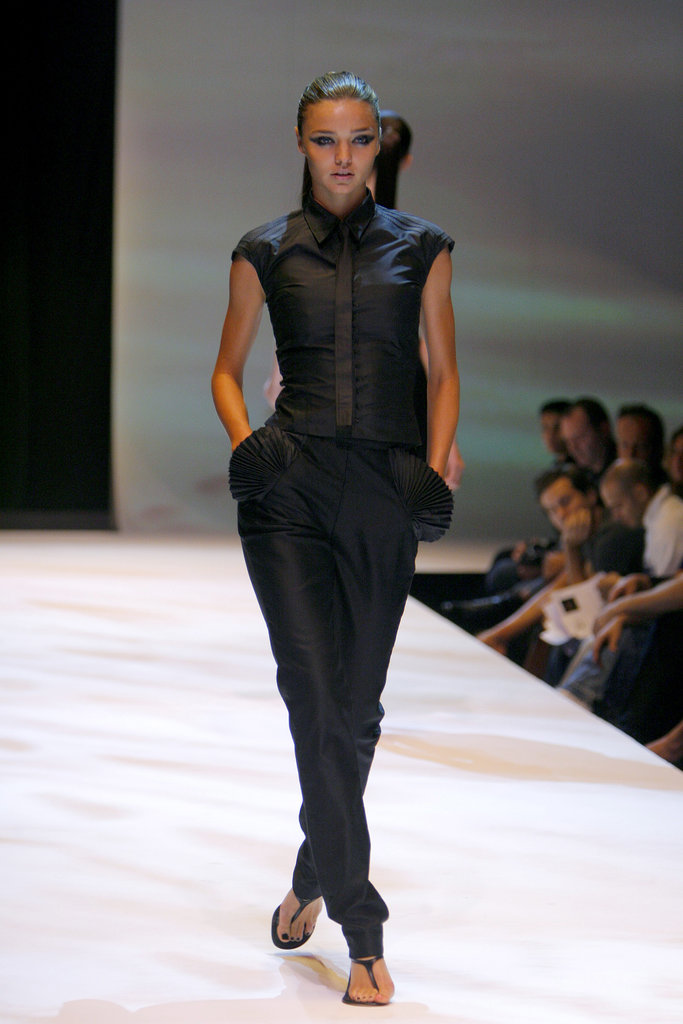 She showcased an all-black look that same season for Esteban Cortazar.