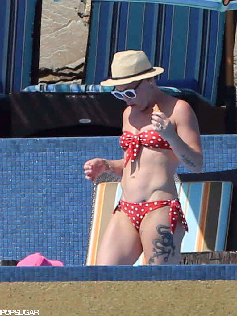Pink showed off her bikini body during a family vacation to Cabo San Lucas, Mexico, in October.