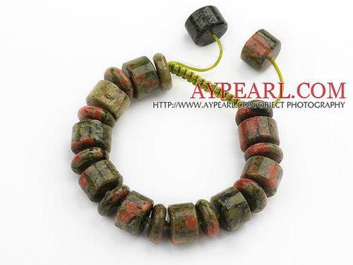Cylinder Shape Green Piebald Stone Knotted Adjustable Drawstring Bracelet