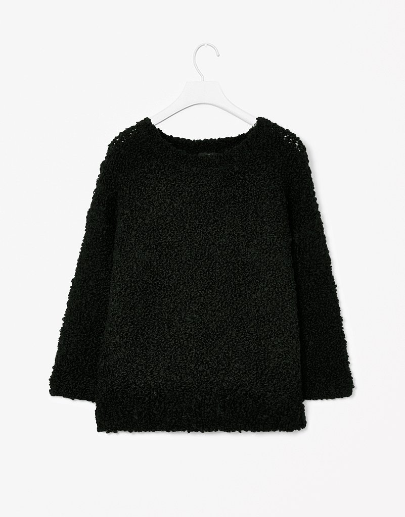 Playing around with texture is an easy way to add something new to your closet. We love the fuzzy feel of this black jumper ($88).