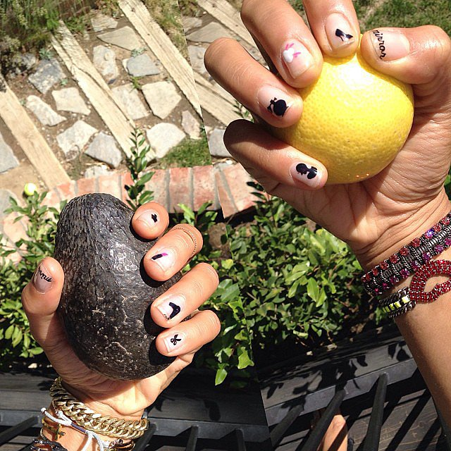Hannah Bronfman somehow managed to kill the nail art game with little lipsticks, hair dryers, and perfumes on her digits. Source: Instagram user hannahbronfman