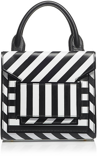 Pierre Hardy White And Black Calf Stripe Bag
