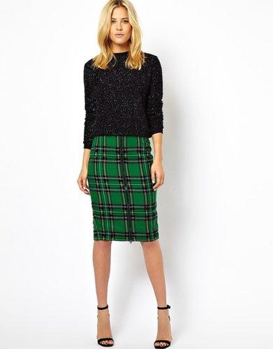 ASOS Check Pencil Skirt with Bead Embellishment