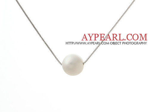 Classic Design Round 11mm White Freshwater Pearl Pendant Necklace with 925 Silver Plated Platinum Chain