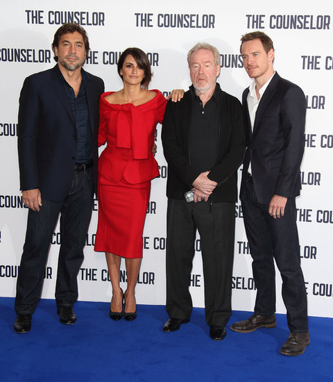Javier Bardem, Penélope Cruz, and Michael Fassbender attended a photocall with director Ridley Scott.
