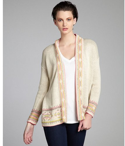 Willow & Clay taupe and pink aztec printed cotton blend open front cardigan