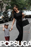 Miranda Kerr held Flynn Bloom's hand during an NYC stroll.