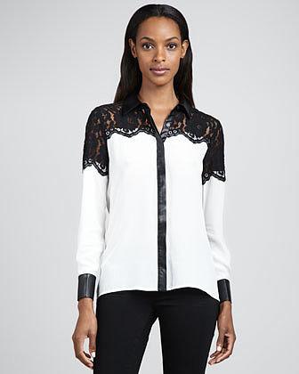 Dora Landa Lace & Faux-Leather-Trim Shirt