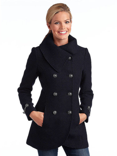 JESSICA SIMPSON Double-Breasted Envelope Collar Coat