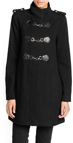 Wool-blend military style coat